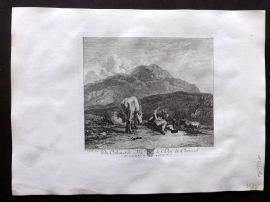 After Karel Dujardin C1820 Antique Print. Landscape with Shepherd & Horse